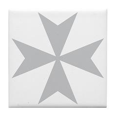 Silver Maltese Cross Tile Coaster