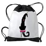 Borzoi Princess Black Drawstring Bag
