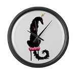 Borzoi Princess Black Large Wall Clock