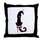 Borzoi Princess Black Throw Pillow