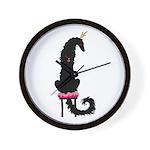 Borzoi Princess Black Wall Clock