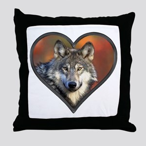 Wolf Heart Throw Pillow