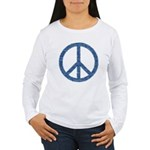 Blue Peace Sign Women's Long Sleeve T-Shirt