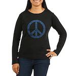Blue Peace Sign Women's Long Sleeve Dark T-Shirt