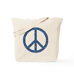 Blue Peace Sign Tote Bag