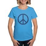 Blue Peace Sign Women's Dark T-Shirt