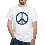 Blue Peace Sign White T-Shirt