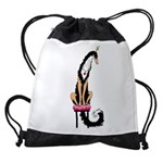 Borzoi Princess Blk/Tan Drawstring Bag