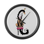 Borzoi Princess Blk/Tan Large Wall Clock