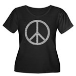 White Peace Sign Women's Plus Size Scoop Neck Dark