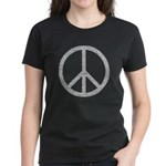 White Peace Sign Women's Dark T-Shirt