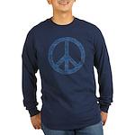 Blue Peace Sign Long Sleeve Dark T-Shirt