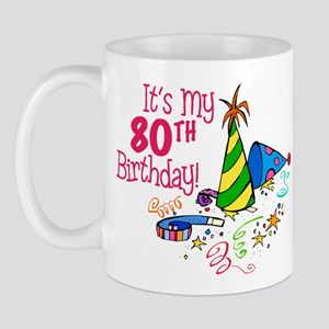 It's My 80th Birthday (Party Hats) Mug
