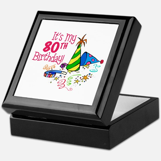 It's My 80th Birthday (Party Hats) Keepsake Box