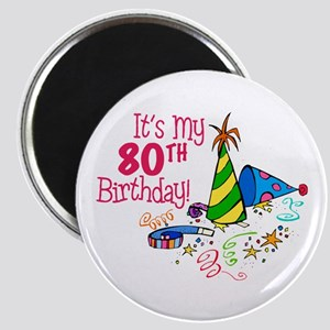 It's My 80th Birthday (Party Hats) Magnet