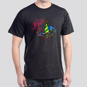 It's My 80th Birthday (Party Hats) Dark T-Shirt
