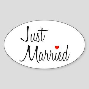 Just Married (Black Script w/ Heart) Sticker (Oval