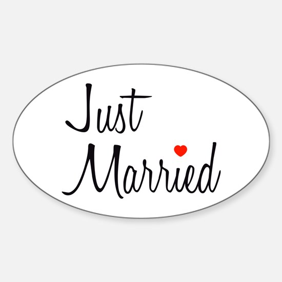 Just Married (Black Script w/ Heart) Decal