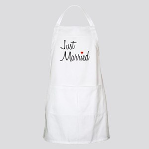 Just Married (Black Script w/ Heart) BBQ Apron