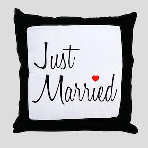 Just Married (Black Script w/ Heart) Throw Pillow