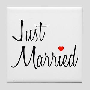 Just Married (Black Script w/ Heart) Tile Coaster