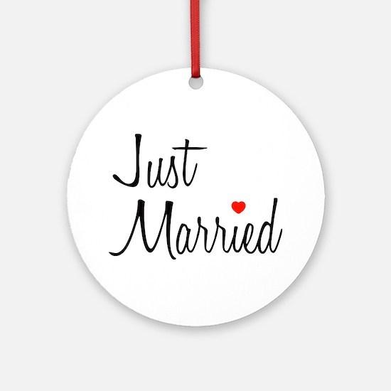 Just Married (Black Script w/ Heart) Ornament (Rou