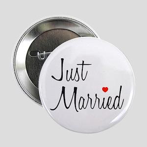 """Just Married (Black Script w/ Heart) 2.25"""" Button"""