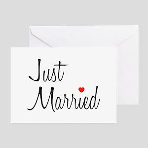 Just Married (Black Script w/ Heart) Greeting Card