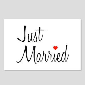 Just Married (Black Script w/ Heart) Postcards (Pa