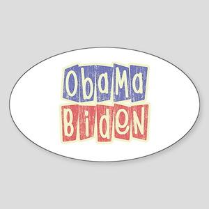 Retro Obama Biden Logo Oval Sticker