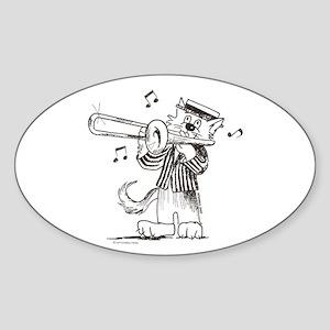 Catoons Trombone Cat Oval Sticker