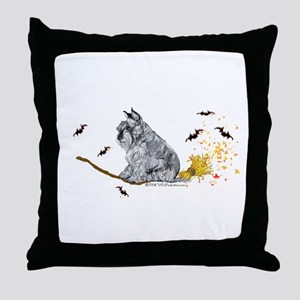 Schnauzer Halloween Tricks Throw Pillow