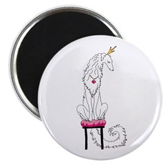 Borzoi Princess White Magnets