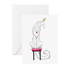 Borzoi Princess White Greeting Cards