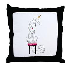 Borzoi Princess White Throw Pillow