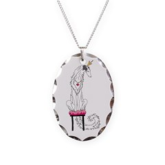 Borzoi Princess Silver Sable Necklace