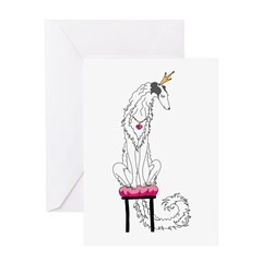 Borzoi Princess Silver Sable Greeting Cards