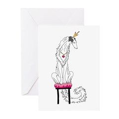 Borzoi Princess Silver Sable Greeting Cards
