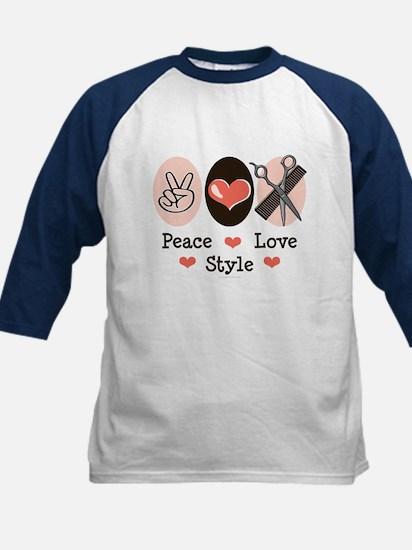 Peace Love Style Hairstylist Kids Baseball Jersey