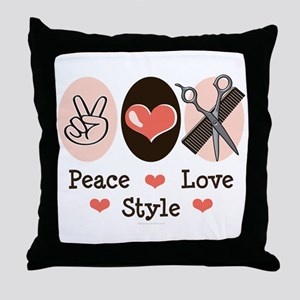Peace Love Style Hairstylist Throw Pillow