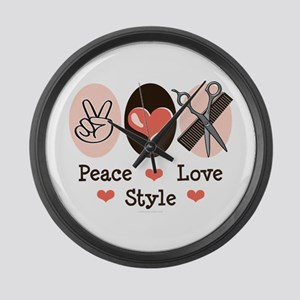 Peace Love Style Hairstylist Large Wall Clock