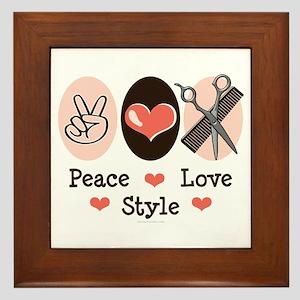 Peace Love Style Hairstylist Framed Tile