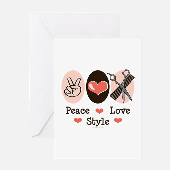 Peace Love Style Hairstylist Greeting Card