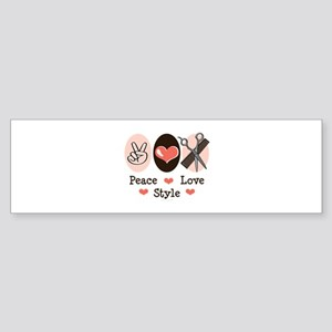 Peace Love Style Hairstylist Bumper Sticker