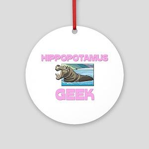 Hippopotamus Geek Ornament (Round)