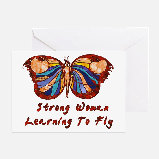 Strong Woman Learning To Fly Greeting Card