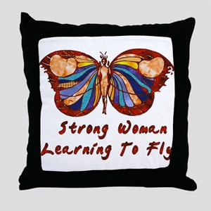 Strong Woman Learning To Fly Throw Pillow