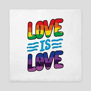 Gay Pride Lesbian LGBT Rainbow Love is Queen Duvet