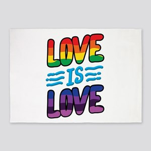 Gay Pride Lesbian LGBT Rainbow Love 5'x7'Area Rug