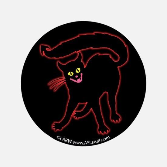 """Devil Cat Black 3.5"""" Button"""